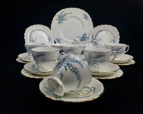 Royal Osborne Vintage Tea Set Blue / White / Floral / 8203 / Trio / Cup
